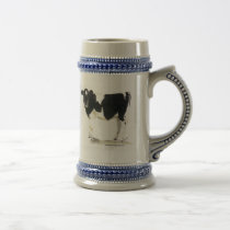black and white cow beer stein