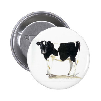 black and white cow button