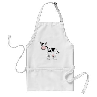 Black and White Cow Cartoon. Adult Apron