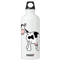 Black and White Cow Cartoon. Aluminum Water Bottle