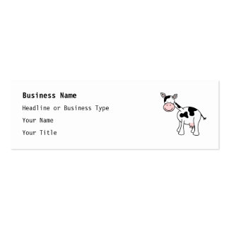 Black and White Cow Cartoon. Double-Sided Mini Business Cards (Pack Of 20)