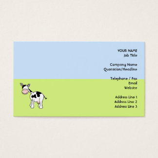 Black and White Cow Cartoon. Business Card