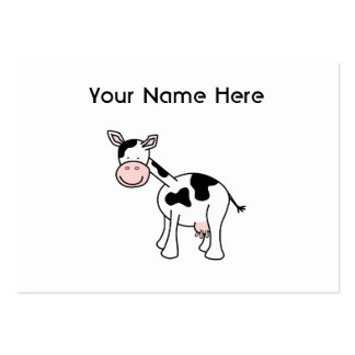 Black and White Cow Cartoon. Large Business Cards (Pack Of 100)