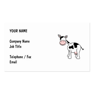 Black and White Cow Cartoon. Double-Sided Standard Business Cards (Pack Of 100)