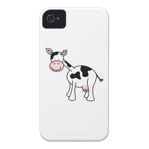 Black and White Cow Cartoon. iPhone 4 Case-Mate Cases