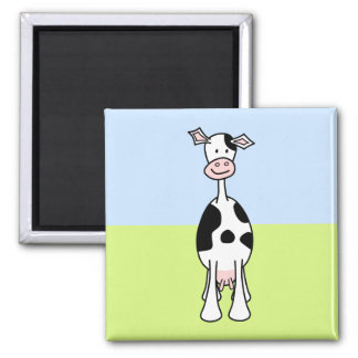 Black and White Cow Cartoon. Front. 2 Inch Square Magnet