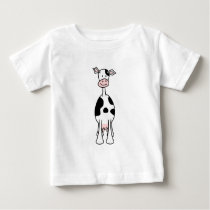 Black and White Cow Cartoon. Front. Baby T-Shirt