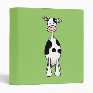 Black and White Cow Cartoon. Front. Binders