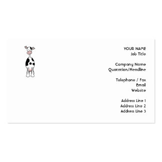 Black and White Cow Cartoon. Front. Double-Sided Standard Business Cards (Pack Of 100)