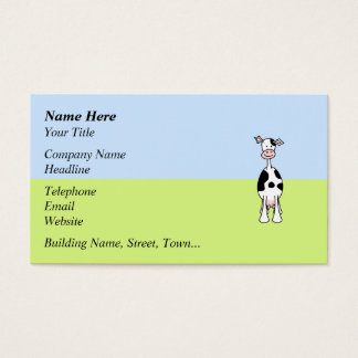 Black and White Cow Cartoon. Front. Business Card