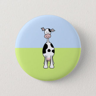 Black and White Cow Cartoon. Front. Button