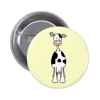 Black and White Cow Cartoon. Front. Pinback Buttons