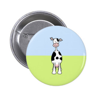 Black and White Cow Cartoon. Front. Buttons