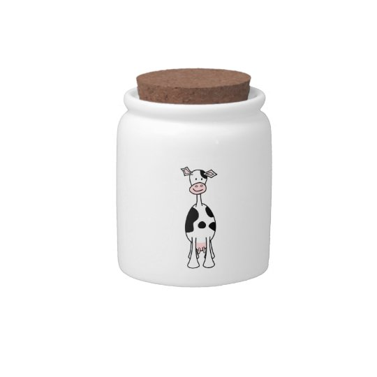 Black and White Cow Cartoon. Front. Candy Jars
