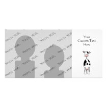 Black and White Cow Cartoon. Front. Card