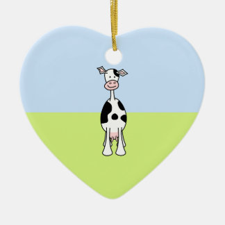 Black and White Cow Cartoon. Front. Ceramic Ornament