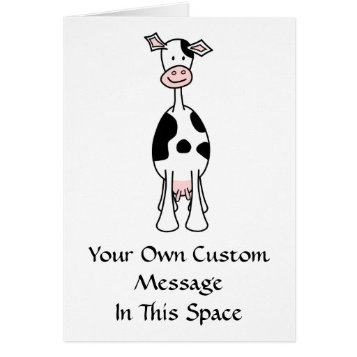 Black and White Cow Cartoon. Front. Greeting Card