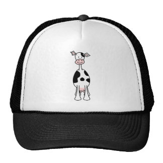 Black and White Cow Cartoon Front Mesh Hats