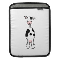 Black and White Cow Cartoon. Front. iPad Sleeve