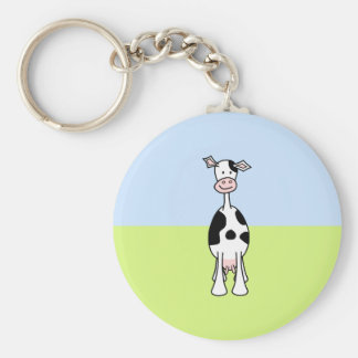 Black and White Cow Cartoon. Front. Keychain