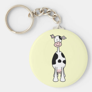 Black and White Cow Cartoon. Front. Keychains