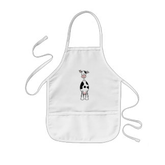 Black and White Cow Cartoon. Front. Kids' Apron