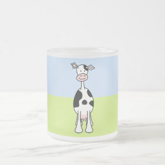 Black and White Cow Cartoon. Front. 10 Oz Frosted Glass Coffee Mug