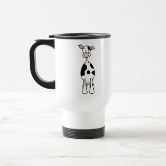 Black and White Cow Cartoon. Front. 15 Oz Stainless Steel Travel Mug