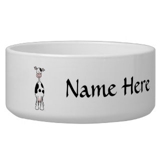 Black and White Cow Cartoon. Front. Dog Bowls
