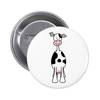 Black and White Cow Cartoon. Front. Pin