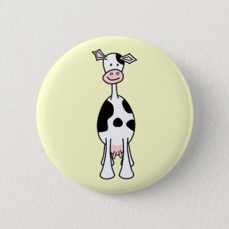 Black and White Cow Cartoon. Front. Pinback Button