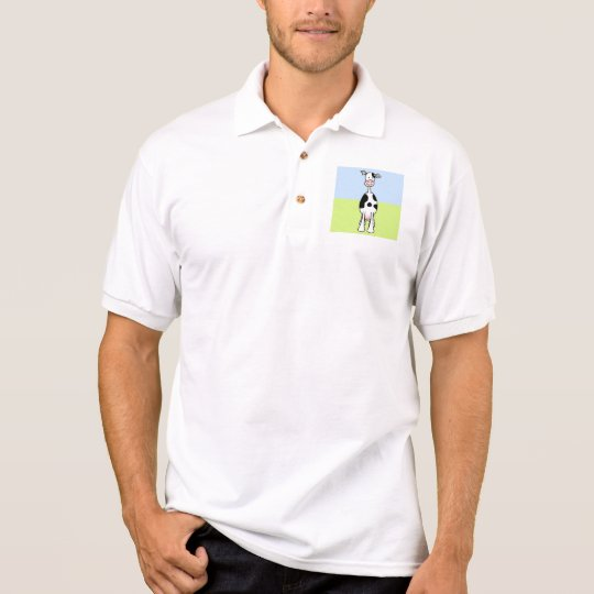 Black and White Cow Cartoon. Front. Polo Shirt