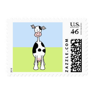 Black and White Cow Cartoon Front Postage Stamp