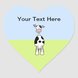 Black and White Cow Cartoon. Front. Heart Stickers