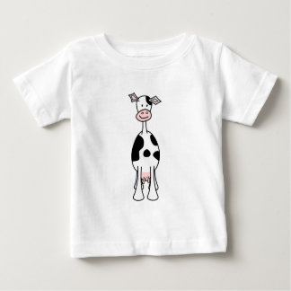 Black and White Cow Cartoon. Front. Tee Shirts
