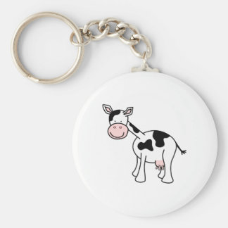 Black and White Cow Cartoon. Keychain