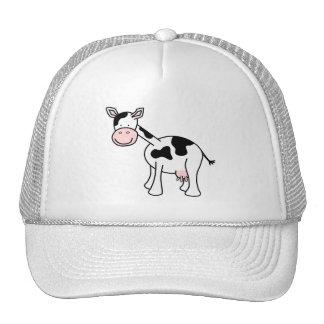 Black and White Cow Cartoon. Mesh Hat