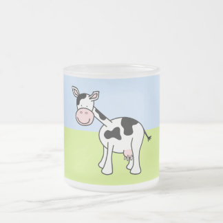 Black and White Cow Cartoon. 10 Oz Frosted Glass Coffee Mug