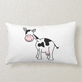 Black and White Cow Cartoon. Throw Pillow