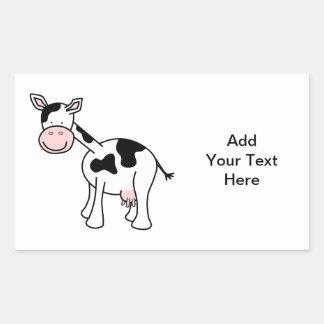 Black and White Cow Cartoon. Rectangular Sticker