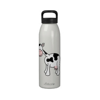 Black and White Cow Cartoon. Reusable Water Bottle