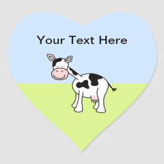 Black and White Cow Cartoon. Heart Stickers