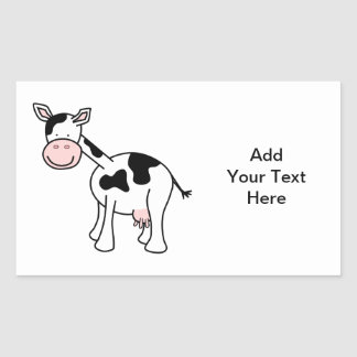 Black and White Cow Cartoon. Rectangular Stickers