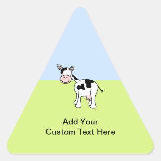 Black and White Cow Cartoon. Triangle Sticker