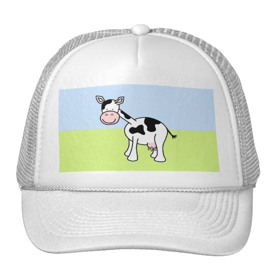 Black and White Cow Cartoon. Trucker Hat