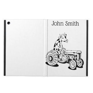 Black and white cow driving a tractor case for iPad air