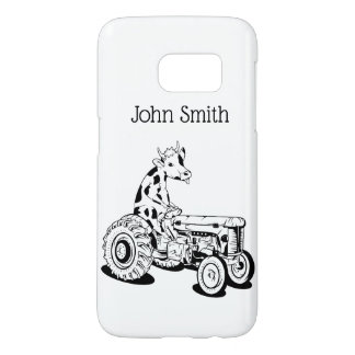 Black and white cow driving a tractor samsung galaxy s7 case