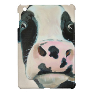 Black and white cow face portrait painting iPad mini cover