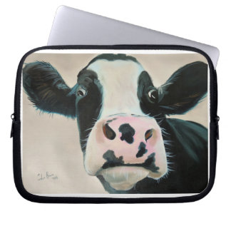 Black and white cow face portrait painting laptop sleeve
