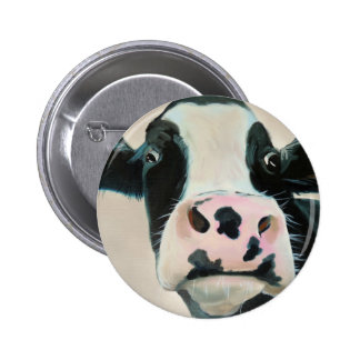 Black and white cow face portrait painting pinback button